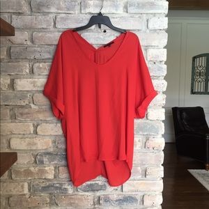 Orange/Red Flowy Blouse